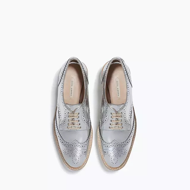 7081672de7d 2015 New Arrival Fashion Women Oxfords Street Style Shiny Silver Closed Toe  Lace Up Low Heels Metallic Brogue Casual Derby Shoes-in Women s Flats from  Shoes ...