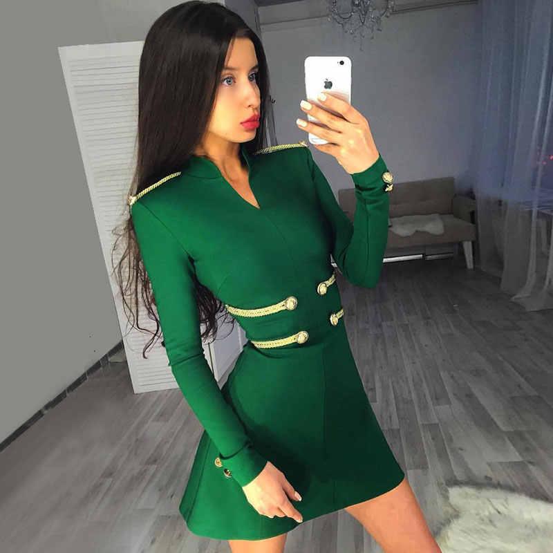 Ocstrade Сексуальное Женское Бандажное платье 2019 черные вечерние А-образные бандажные платья новая мода Emebllished Бандажное платье с длинным рукавом зеленого цвета