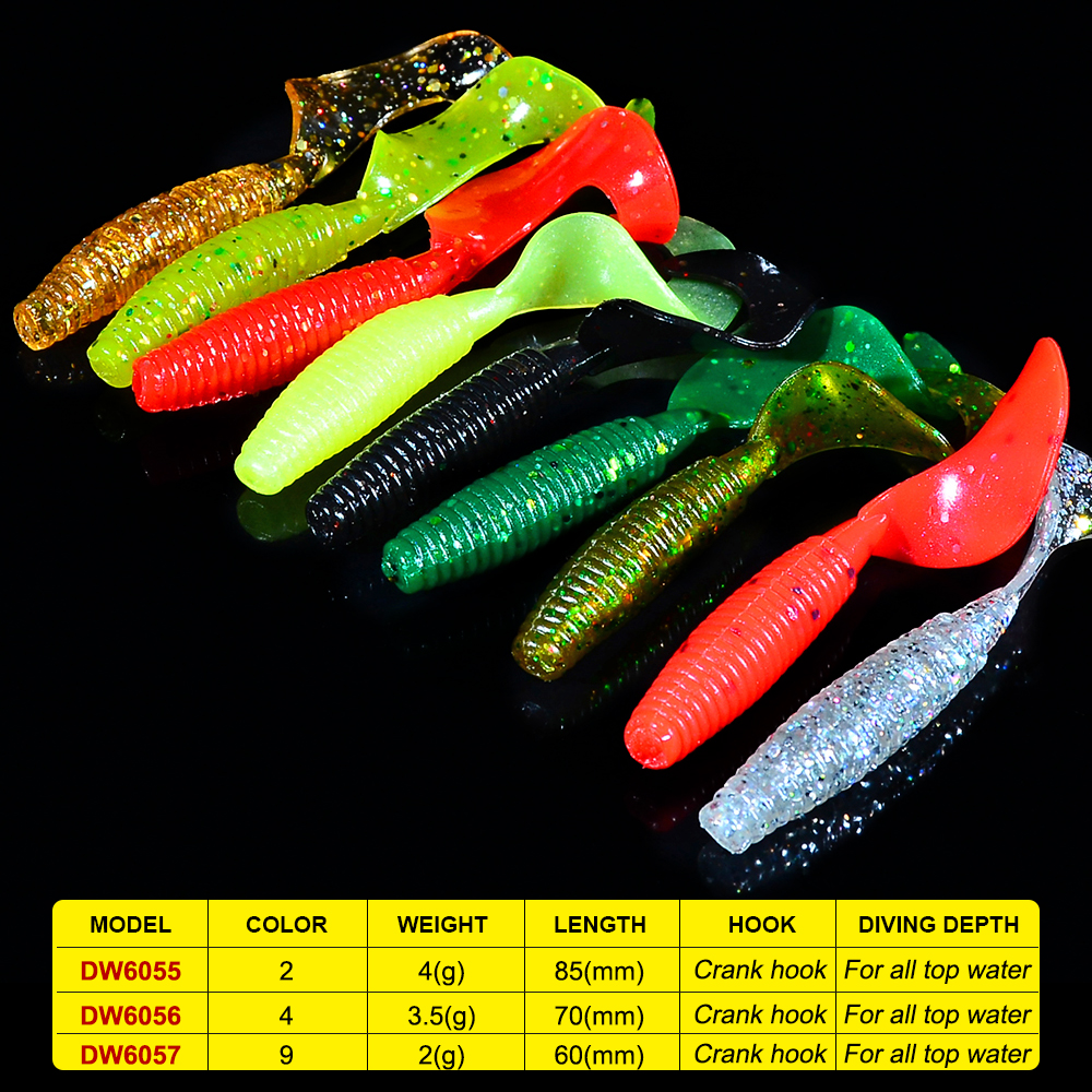 10pc/set Fishing Lures Floating Soft Lure 2/4/9 Colors Soft Baits 6/7/8.5CM Fishing Baits Soft Fishing Tackle 2/3.5/4g Lure Set