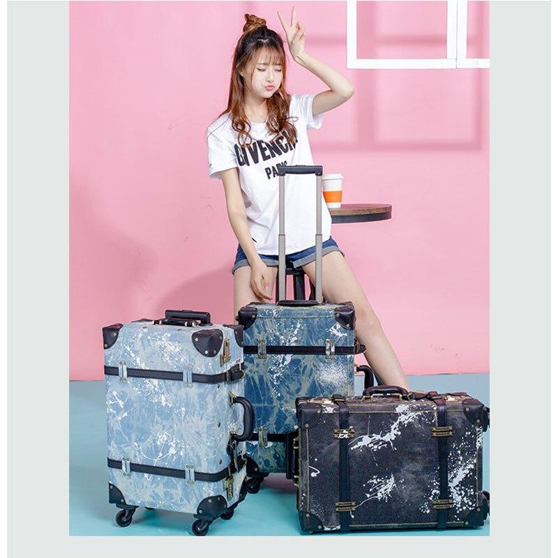 2018 luggage Retro suitcase wheel suitcase men's luggage cowboy boarding luggage 20 24 denim spinner highquality free shipping