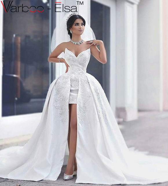 robe de mariage high low wedding dresses sexy v neck beaded detachable skirt wedding dress long - Aliexpress Mariage