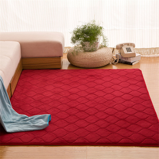 Coral Velvet Carpet Baby Play Crawling Red Rugs Grid Quil Area Rug