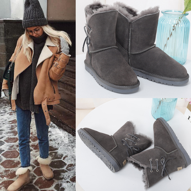 Business casual winter special leather women's snow boots Cowhide with wool waterproof warm belt decoration winter women's shoes