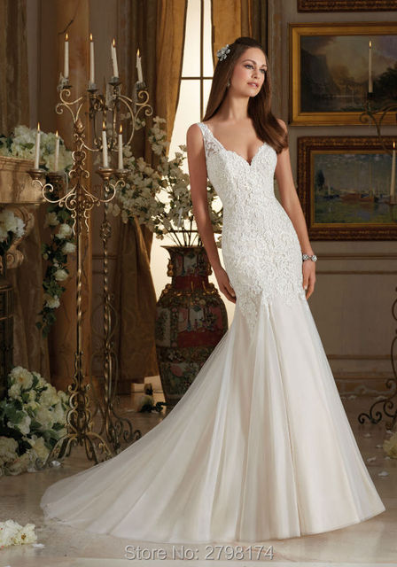 Elegant Mermaid Wedding Dresses Tank Top Lace Bridal Wedding Gown
