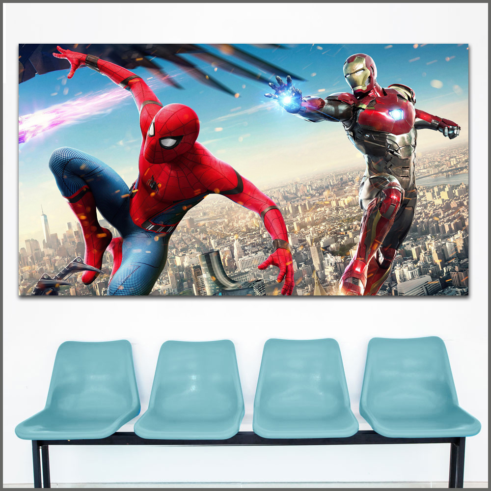Large Size Oil Painting Spider-Man Homecoming Heroes comic Art Canvas Prints Pictures For Living Room And Bedroom No Frame WLONG