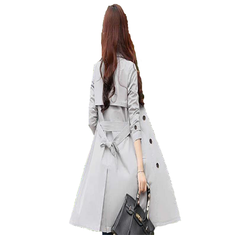 Women Coat Spring Oversize-Trench Long-Sleeve Slim Autumn Double-Breasted Fashion Casual
