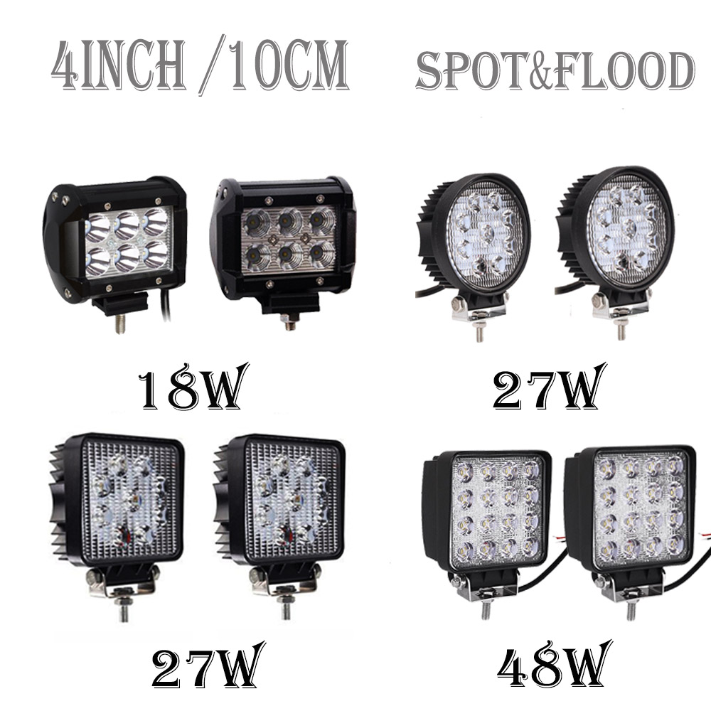 4inch 10cm 18W 27W 48W Offroad Car 4WD Truck Tractor Boat Trailer 4x4 SUV ATV 12V 24V Spot Flood LED Light Bar LED Work Light винный шкаф caso wineduett touch 21