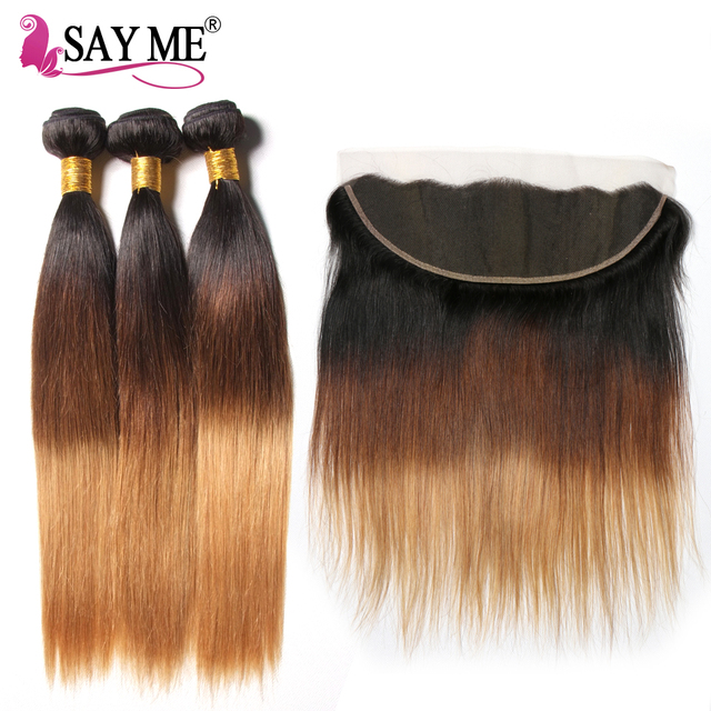 Lace Frontal With Bundles Remy Malaysian Straight Hair Bundles With Closure Ombre Human Hair 3 Bundles With Frontal Closure
