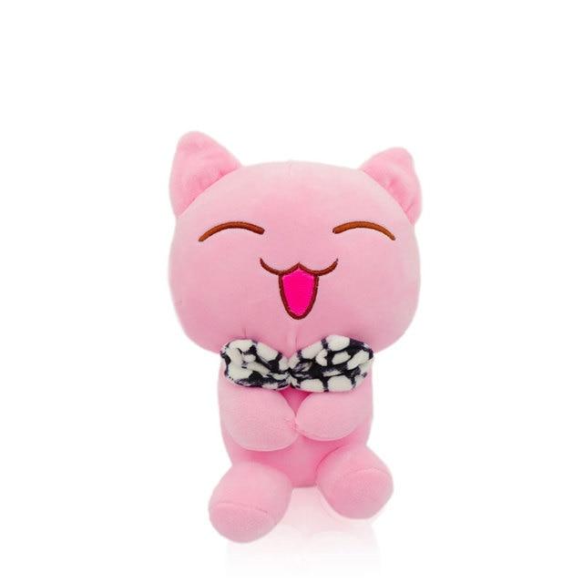 1 Piece Super Soft Pink Kawaii Cat Plush Emotional Kitty Kittens