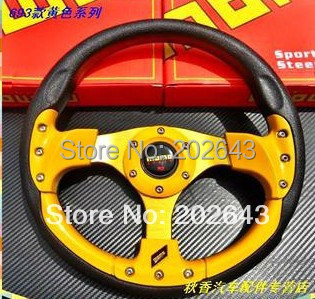 GV-SW293 car steering wheel for racing 13 yellow /red pvc pu aluminum bracket leather steering wheel cover car-covers