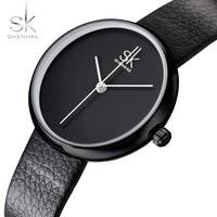 Shengke Watches Women Quartz Clock Top Brand Watches Leather Women Watch Causal Black White Simple Wristwatch