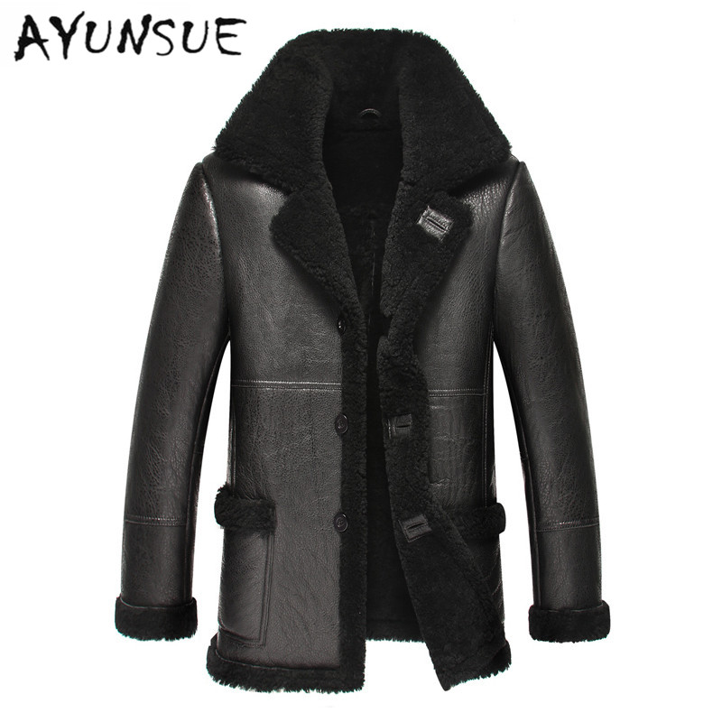 New Arrival Men Leather Jacket Black Winter Minus 40.Full Warm Fur Men Coat Sheepskin Genuine Leather Slim For Men YYJ0060