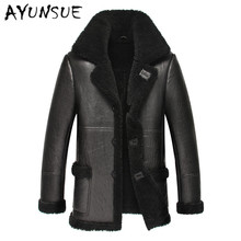Jacket Coat Warm Winter Black Genuine-Leather Minus Fur Men Slim for YYJ0060 Sheepskin