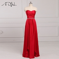 ADLN Red Evening Dresses Long Satin Custom Made Sweetheart Sleeveless A line Special Occasion Gown