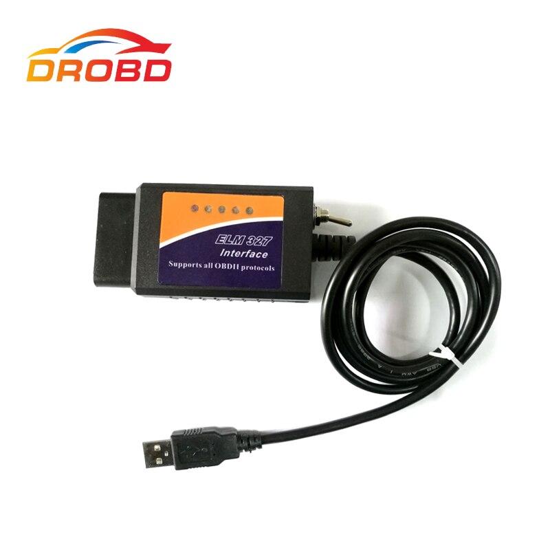 Nouveau ELM327 USB V1.5 avec Interrupteur modifié pour Ford ELMconfig Forscan CH340 + 25K80 puce HS-CAN/MS-CAN Code Lecteur