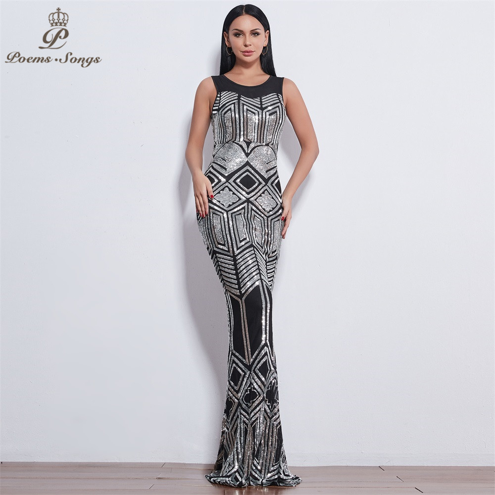 Poems Songs 2019 New sleeveless Evening dresses for women long vestido de festa Sequin evening gowns vestidos elegante-in Evening Dresses from Weddings & Events    1