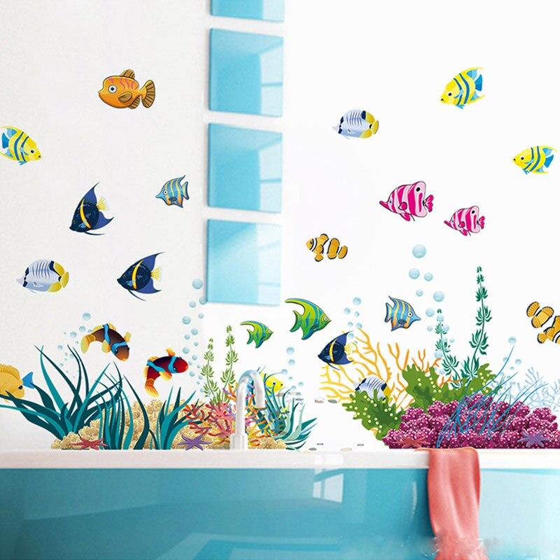 Diy Tropical Fish Nursery Room Wall Stickers Home Decor Pvc Mural Art Poster Kids Room Decal For Bathroom Cartoon Undersea World