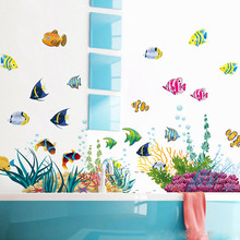Diy Tropical Fish Nursery Room Wall Stickers Home Decor Pvc Mural Art Poster Kids Decal For Bathroom Cartoon Undersea World