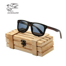 AN SWALLOW Ebony laminated wood glasses Real Wood Sunglasses Polarized Wooden Glasses UV400 Bamboo Brand Sun