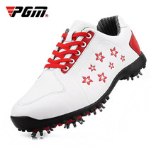 цена на Authentic PGM Golf Shoes Women Light Weight Leisure Section Fixed Nail Non-slip Printing Girls Waterproof Sports Shoes Sneakers