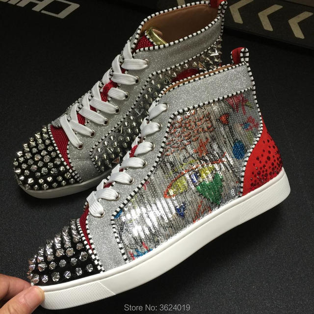 7474340d30eb high Cut Lace up shoes cl andgz White with Graffiti sequins glitter  Blingbling diamond Red bottoms Sneakers Leather 2018 For Man