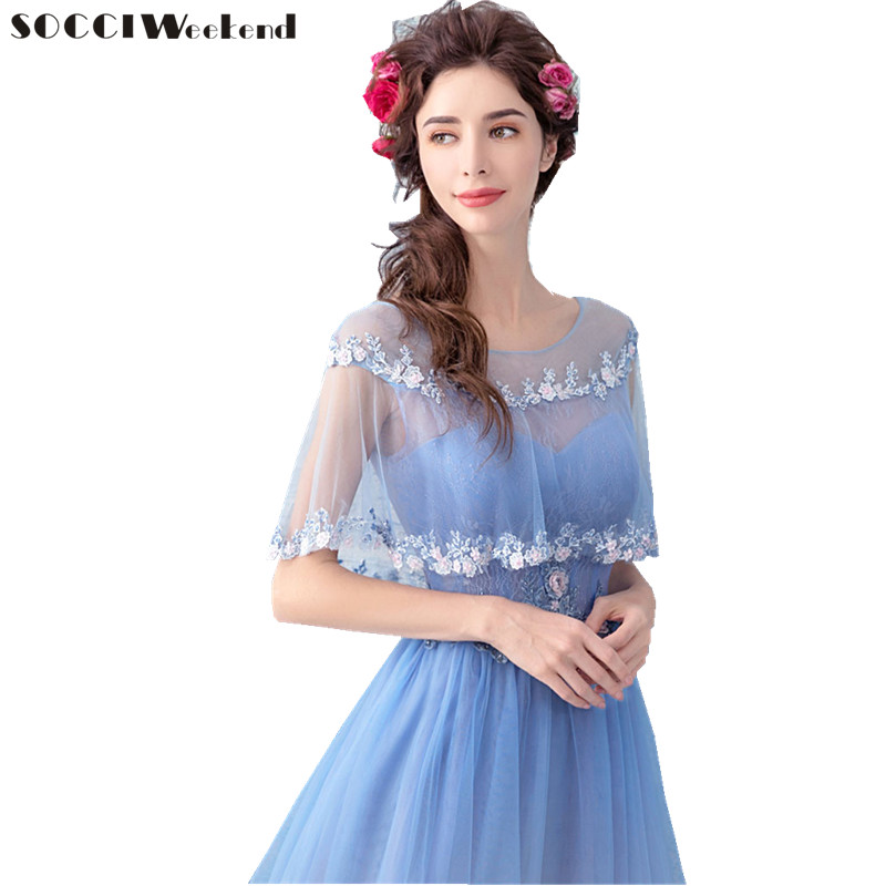 5cffd2b7792a SOCCI Weekend Elegant Evening Dress 2019 Beaded 3D flowers Blue Formal  Wedding Party Dresses A line with Jacket Prom Gowns Robe-in Evening Dresses  from ...