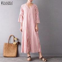 S-5XL ZANZEA Summer Women Vintage Maxi Long Dress Sexy V Neck 3/4 Sleeve Front Split Striped Linen Dresses Plus Size Vestidos