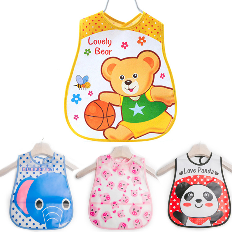 Adjustable EVA Baby Bibs Cartoon Pattern Lunch Bibs Boys Girls Infants Waterproof Bibs Burp Cloths For Children Self Feeding