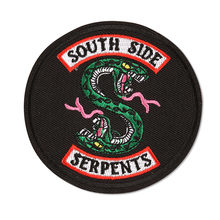 Riverdale South Side Patches Green Snake Iron on Embroidery clothes Patch for clothing Jacket Badges Applique Sticker wholesale(China)