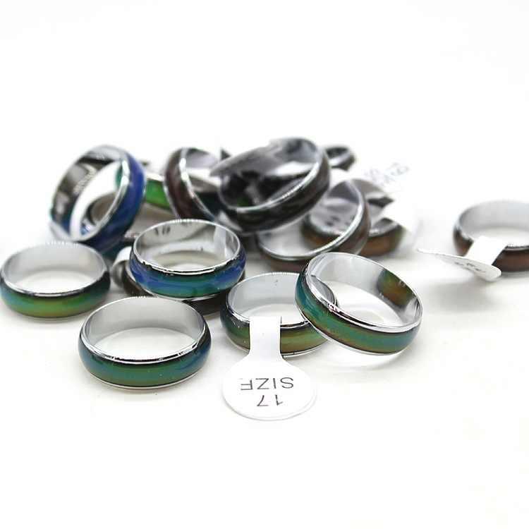 HOT selling Change Color Emotion Feeling Rings crown Magic peridot Rings For Women/mens stainless steel biker rings wholesale