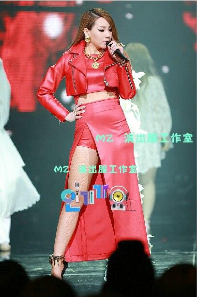 Hot DJ atmospheric costumes singer 2ne1 CL Licai Ling Inkigayo big red leather costumes Customizable / S-L / Free shipping ! figure class ultra instinct goku