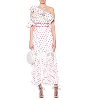2018 new arrive Women's White Polka Dot One Shoulder Dress