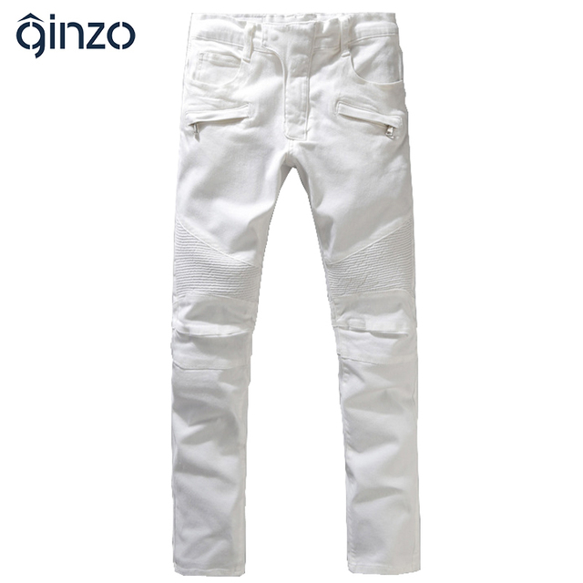 Men's fashion white sim straight biker jeans Male casual large size stretch denim pants Long trousers