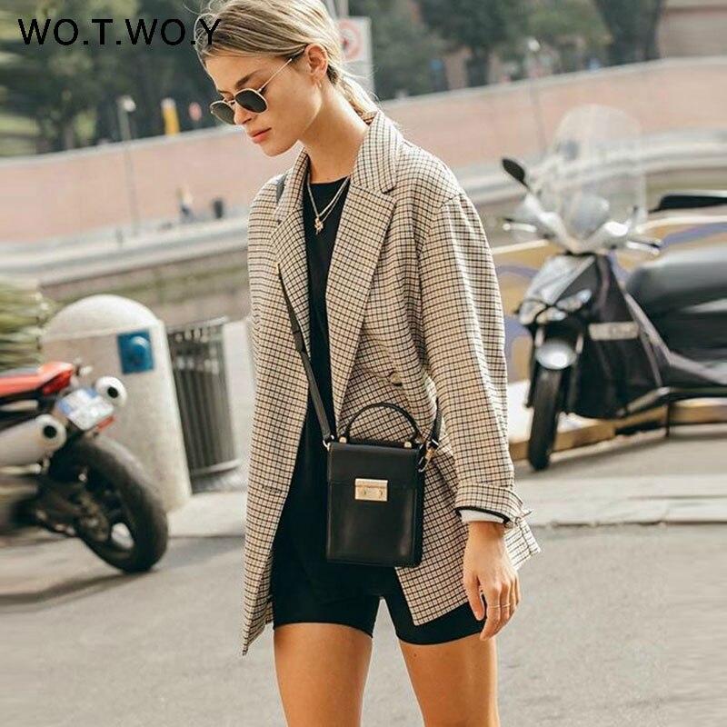 Image 2 - WOTWOY Double Breasted Plaid Blazer Women Khaki Pocket Long Sleeve Office Ladies Blazer Autumn Jacket Female Outerwear Coats-in Blazers from Women's Clothing