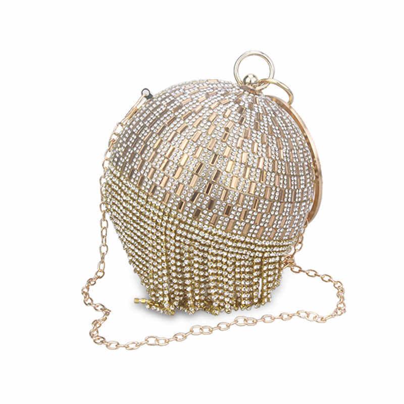 021c986157 Golden Diamond Tassel Women Party Metal Crystal Clutches Evening Bags  Wedding Bag Bridal Shoulder Handbag Wristlets Clutch Purse