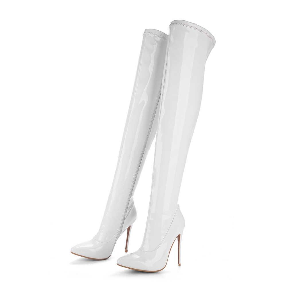 DoraTasia 2020 artı boyutu 48 marka sivri burun kadın ayakkabısı, çizmeler seksi ince yüksek topuk parti ayakkabı kadın kış ovet diz çizmeler