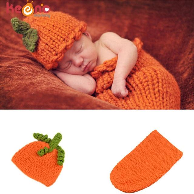 Keenomommy Baby Pumpkin Photography Props Crochet Pumpkin Baby Hat with  Sleeping Bag Infant Halloween Costume H302 69b443831084