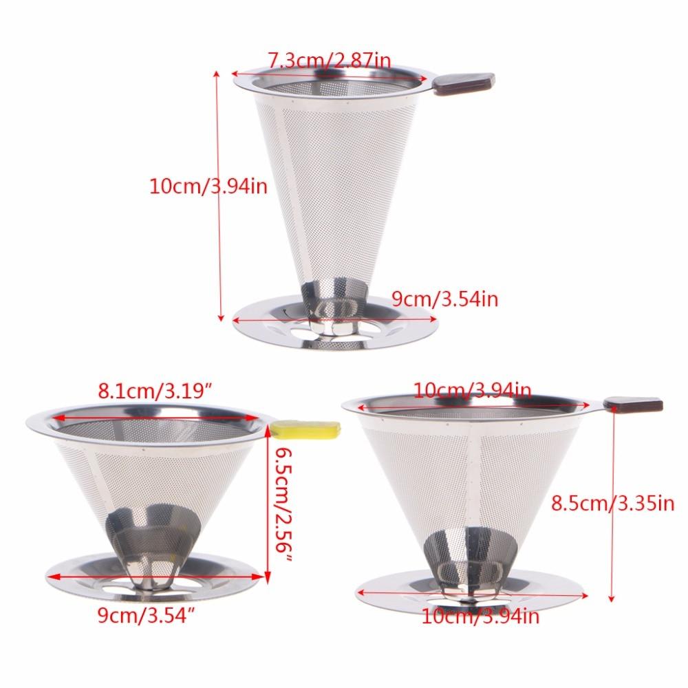Купить с кэшбэком Stainless Steel Mesh Strainer Baskets Coffee Filter Reusable Cone Coffee Dripper