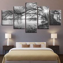 Canvas Pictures For Living Room Wall Art Poster Framework 5 Pieces Lakeside Big Trees Paintings Black White Landscape Home Decor(China)