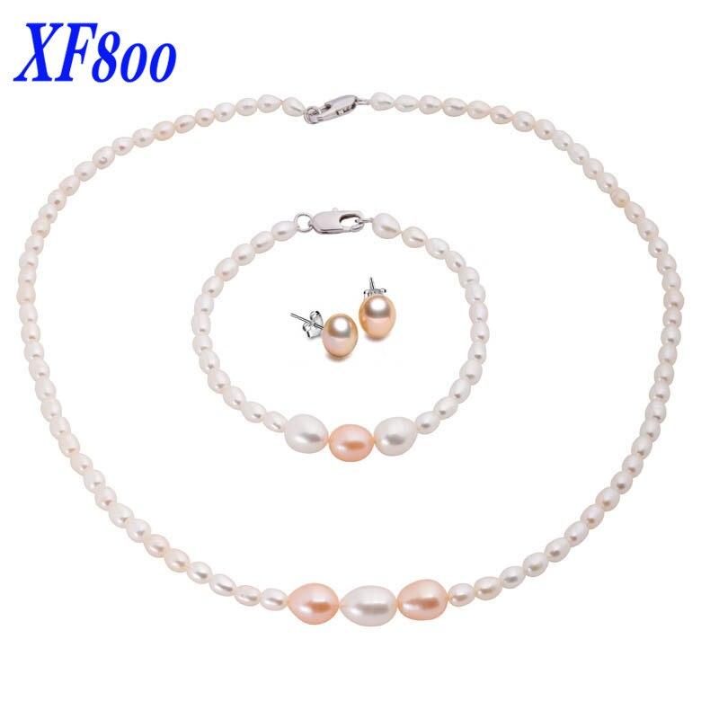 XF800 nouvel ensemble de bijoux en perles naturelles, élégant collier de perles et bracelet et boucles d'oreilles pour femmes T106