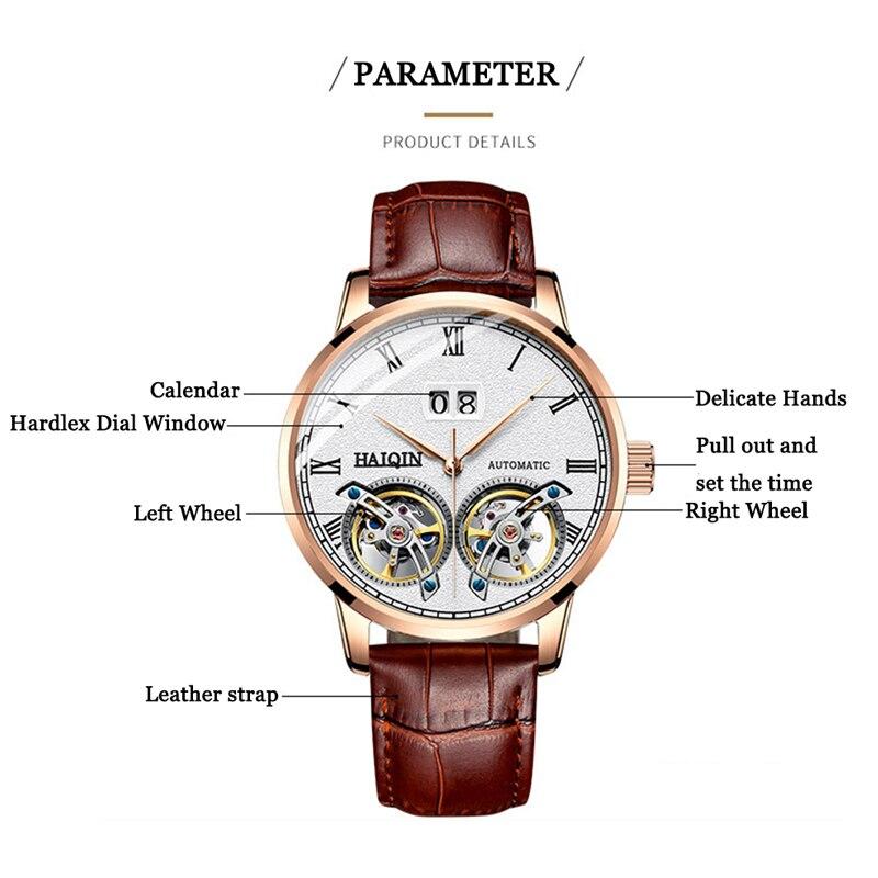 HAIQIN montres homme 2019 Top marque de luxe mode/militaire/automatique/mécanique/étanche/Sports/montre hommes horloge Reloj Hombre - 6