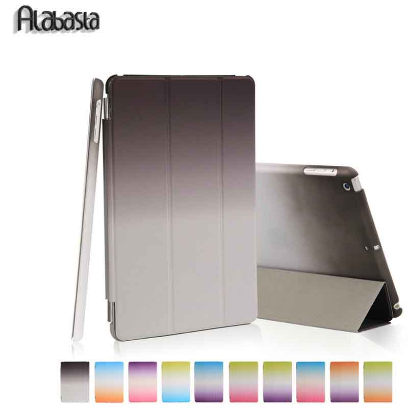 Case For ipad 6 air 2 retina Rainbow Leather Ultra Slim magnetic Smart cover auto sleep +hard pc back shell smart Sleep Alabasta