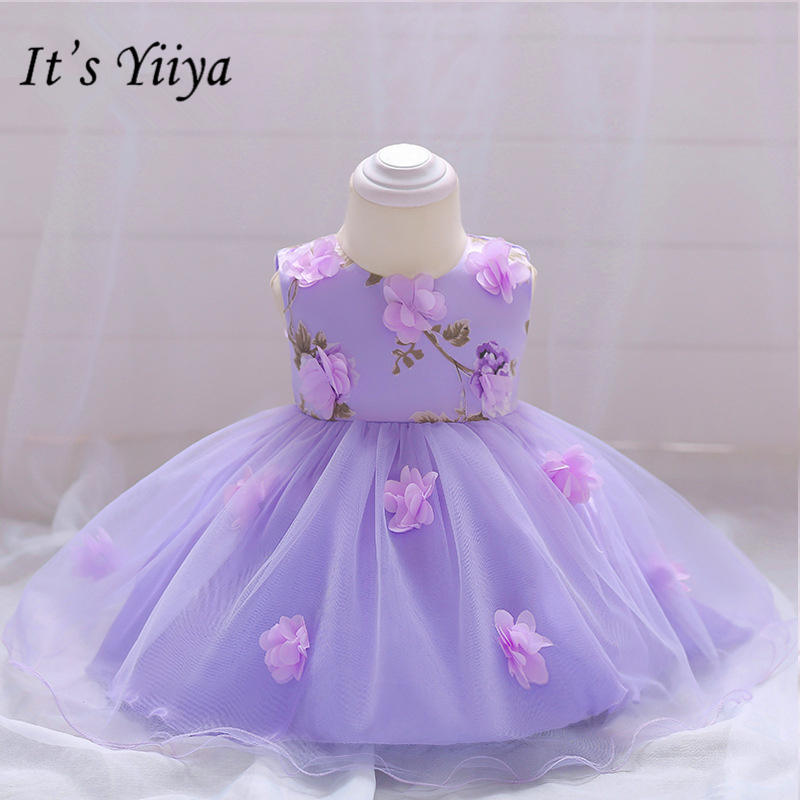 It's yiiya Fashion Appliques Purple Little   Flower     Girl     Dresses   O-neck Tea-length Tank   Girl     Dress   Princess Ball Gown MA070