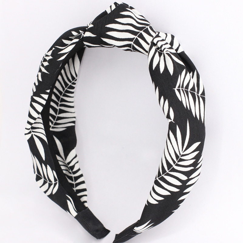 Trendy Leaves Printing Top Knot Cloth Hairband Twist Elastic Hair Wrap Wholesale Hair Accessories for Women
