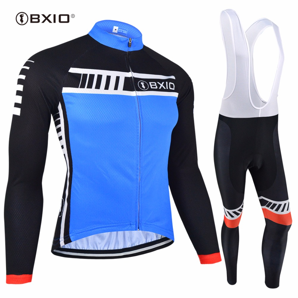 BXIO Brand Winter Bike Set Warm Long Sleeve Maillot Ciclismo Pro Team Blue Bicycle Clothing Thermal Fleece Cycling Clothes 94 цена