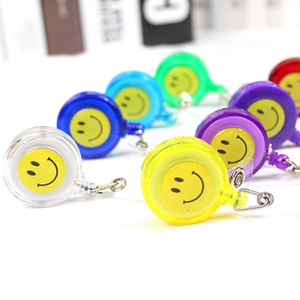 Image 4 - 30pcs/lot Smiling Face Retractable Pull Key ID Card Clip ID Badge Lanyard Name Tag Card Holder School Office Company Papelaria