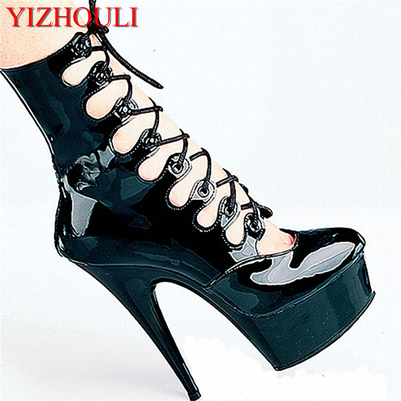 Low - tube boots, crystal shoes black star stage performance shoes, 15cm autumn/winter super high heel shoe model Dance Shoes 15cm club shoes big star with steel tube dancing shoes 34 and 46 yards high with the lacquer that bake single crystal shoes