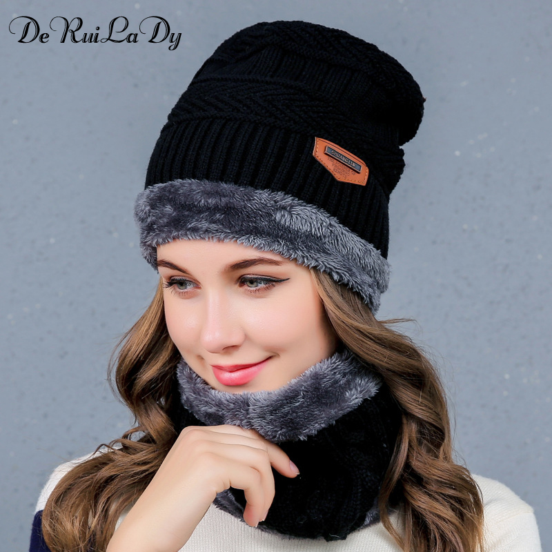 DeRuiLaDy Winter Hats for Women Men Knitted Beanie Hat Cap for Girls Wool Hat Female and Male Skullies Couples Stocking Hats 2017 new fashion autumn and winter wool leaves hollow out knitting hat thick female cap hats for girls women s hats female cap