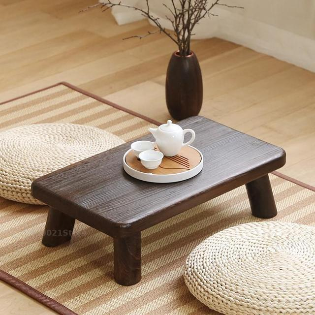 Solid Wood Small Square Table Japanese Style Bay Window Antique Small  Coffee Table Floor Short Coffee