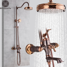 Öl Eingerieben Bronze Dusche Wasserhahn System Niederschläge Rose Goldene und Bronze Bad Dusche Mixer Dusche Set Wasserhahn Schwenk Auslauf
